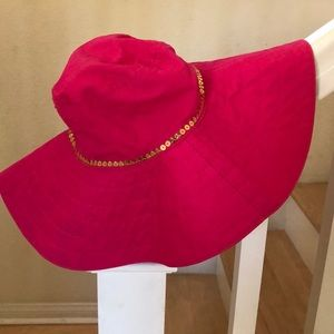 Girls Cute Pink Sun Hat With Gold Sequins